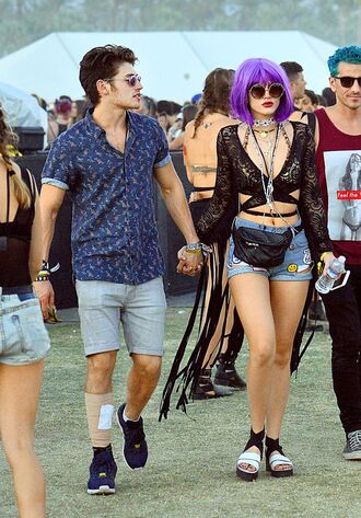 shorts sandals bella thorne coachella lace top sunglasses jewels glasses sunnies boho hippie hippie chic accessories accessory celebrity style