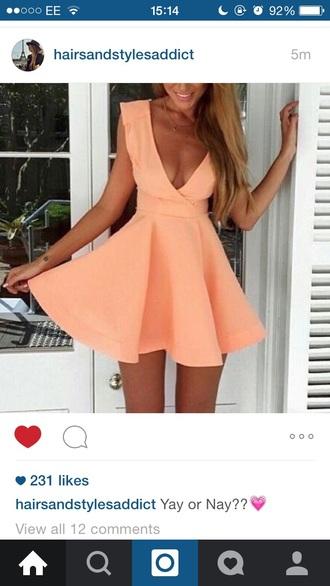 dress peach peach dress cute dress