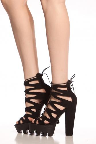 4afbf0f037d Black Faux Suede Lace Up Lug Sole Heels   Cicihot Heel Shoes online store  sales Stiletto Heel Shoes