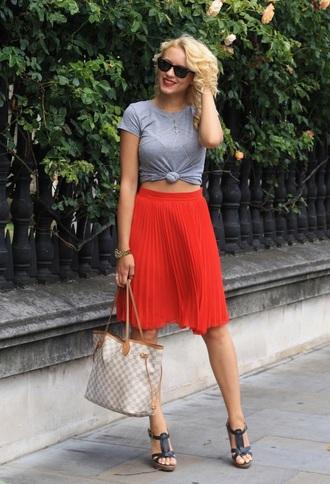 skirt red skirt pleated skirt