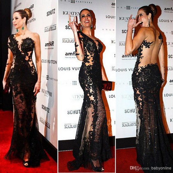 dress backless celebrity dresses luciana gimenez sheer black BO3172