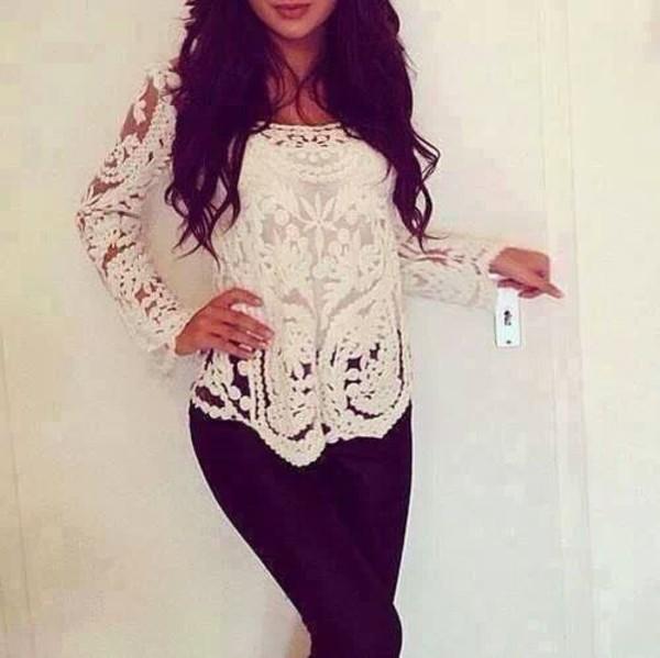 t-shirt blanco blanc dentelle white blouse shirt lace long sleeves crochet lace top