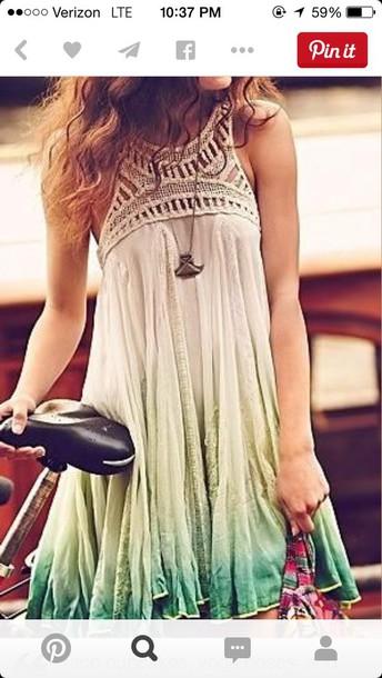dress ombre dress boho dress