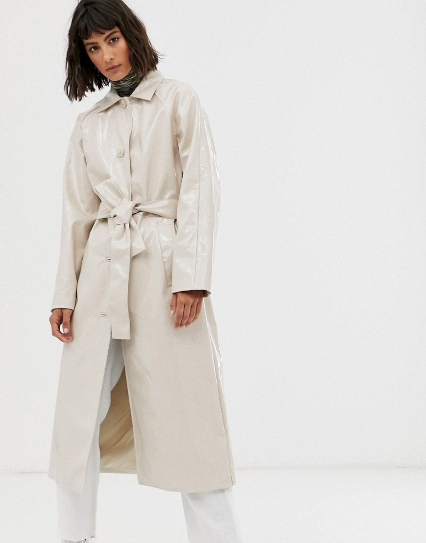 Weekday patent trench coat in light beige