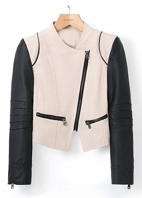 Black and Khaki Color Blocking Long Sleeve Jackets