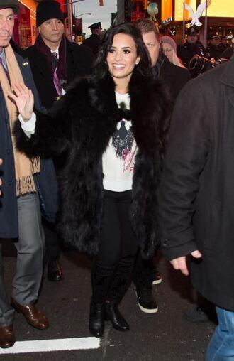 sweater demi lovato winter outfits fur fur coat
