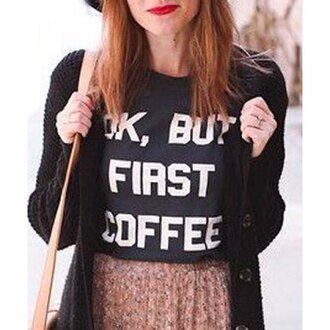 top hippie chic black lookbook rose wholesale style blogger coffee quote on it urban tumblr t-shirt