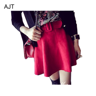 skirt suede vintage skirt short skirt fall skirt ball gown skirt red skirt