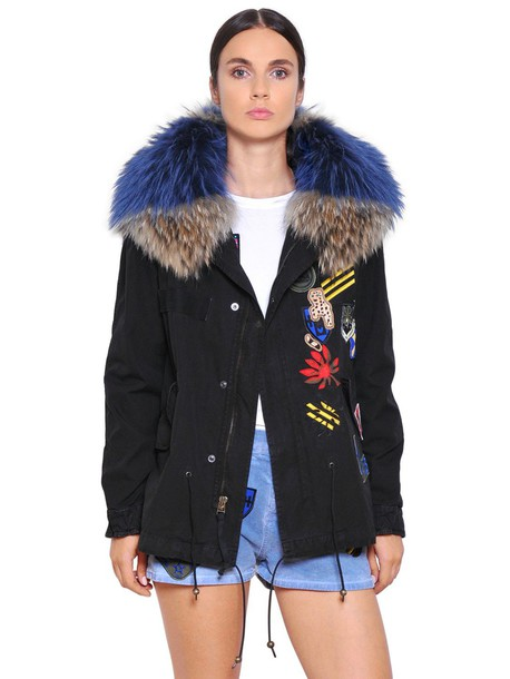 Mr & Mrs Italy parka mini fur cotton black beige coat