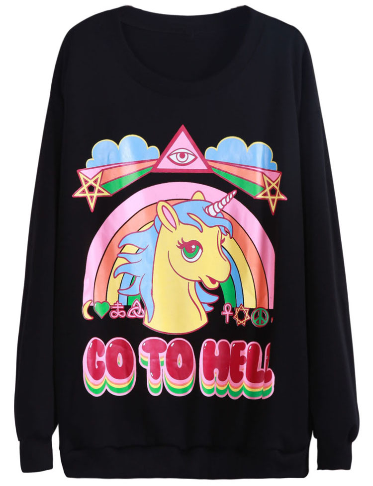 Black Long Sleeve Unicorn Rainbow Print Sweatshirt - Sheinside.com