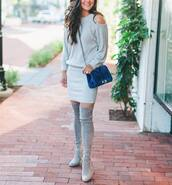 dress,tumblr,mini dress,grey dress,knitted dress,cut out shoulder,grey boots,boots,thigh high boots,over the knee boots,bag,blue bag,chain bag,knitted mini dress