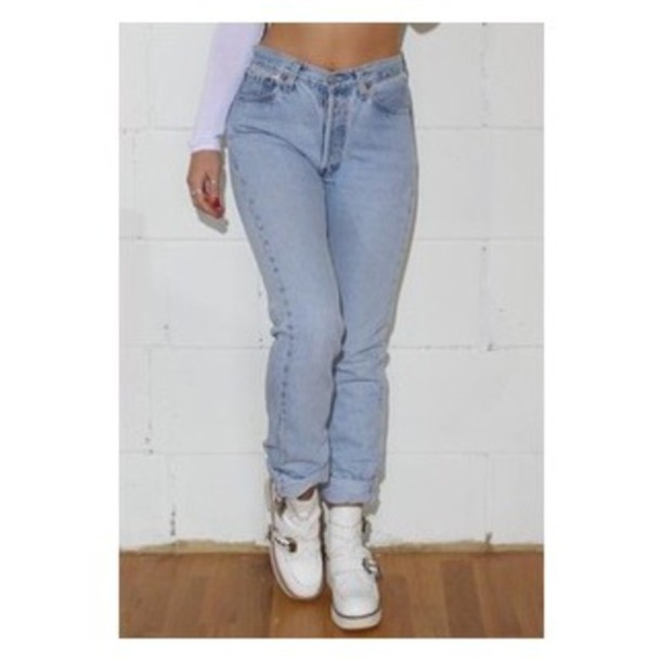 Jeans: high waist boyfriend jeans, light blue jeans, high wasted ...