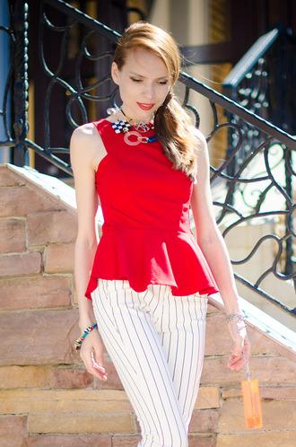 red tank top tank top peplum top fashion celebrity style blogger tini tani summer top red peplum dress
