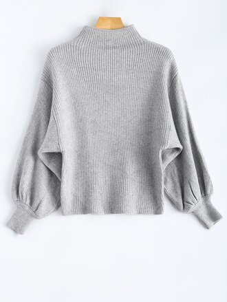 sweater grey grey sweater mock neck sweatshirt puff puffy oversized sweater oversized oversized turtleneck sweater ribbon puffed sleeves ribbed top fashion lovely love pretty cute hot light fabulous grey top winter sweater