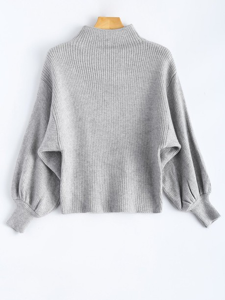 Sweater: grey, grey sweater, mock neck, sweatshirt, puff, puffy ...