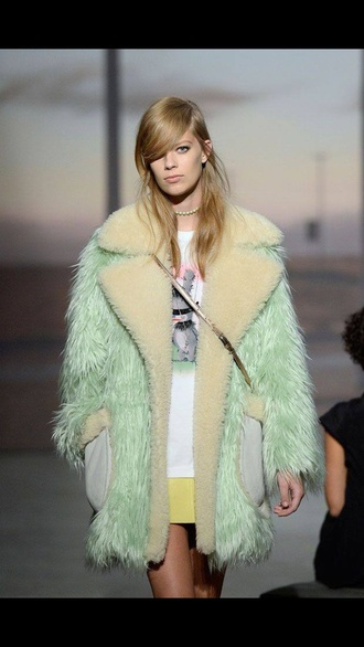 coat pastel mint fur