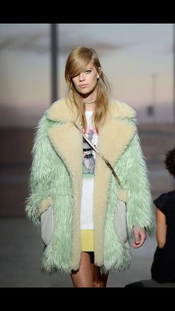coat pastel mint fur