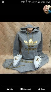 sweater,adidas,jumpsuit,addias outfit,gold,jumper,jacket,grey,sweatshirt,sweatpants,3 stripes,hoodie,joggers,adidas outfit,nike roshe run grey and gold,adidas jacket,training pants,grey adidas gold