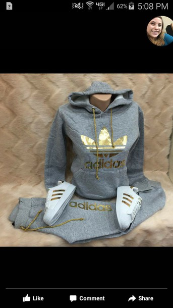 sweater adidas jumpsuit addias outfit gold jumper jacket grey sweatshirt sweatpants 3 stripes hoodie joggers adidas outfit nike roshe run grey and gold adidas jacket grey training pants grey adidas gold