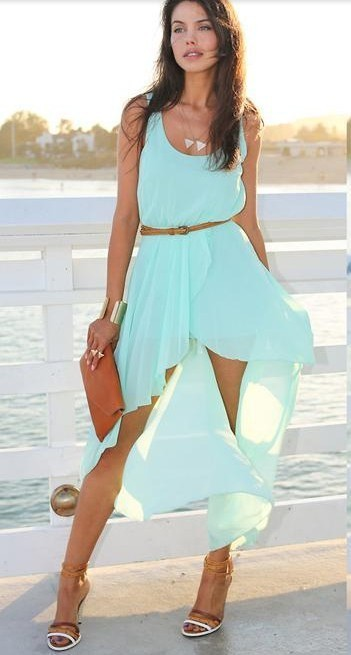 Irregular mint color dress