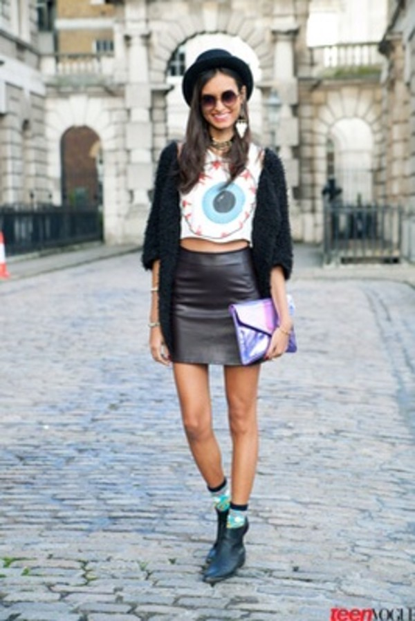 shirt top skirt hat eyeball crop tops leather bag