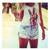 shorts,denim shorts,spiked shorts,light blue,denim,ripped,ripped denim,ripped shorts,spiked denim,light shorts,hot pants,t-shirt,jewels,shirt,white crop tops,high waisted denim shorts,peace,tank top,peace sign,jeans,distressedshorts,white tank top,english flag,open front,307785,cool girl style,funny,summer outfits,union jack,british,top,crop tops,white,uk flag