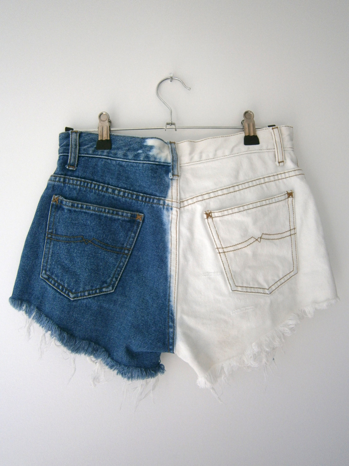 Blue and white denim high waisted shorts