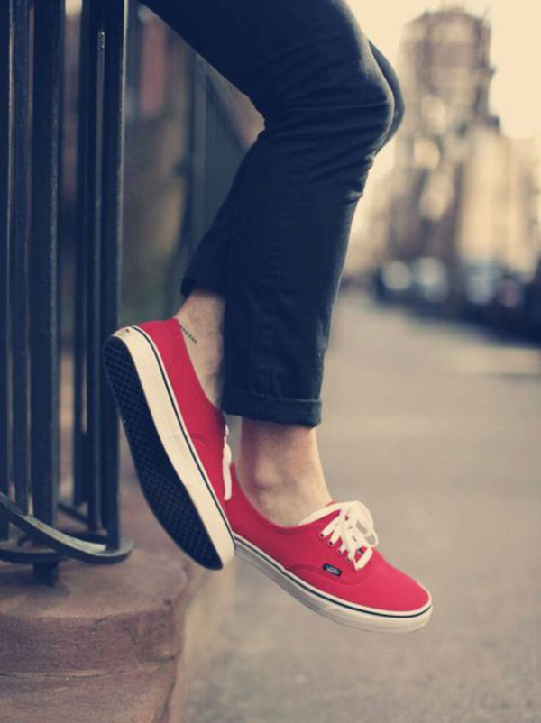 shoes red vans shies authentic girl