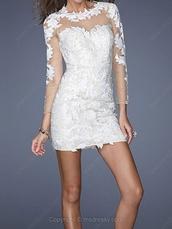 dress,bodycon dress,bodycon,white,white dress,short white dress,little white dress,lace dress,lace,white lace dress,white lace,lace bodycon dress,sheer neckline,sheer neckline dress,sheer,see through dress,sheer lace dress,white lace bodycon dress,prom dress