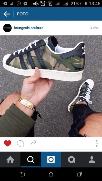 shoes, hipster, adidas, adidas superstars, camouflage