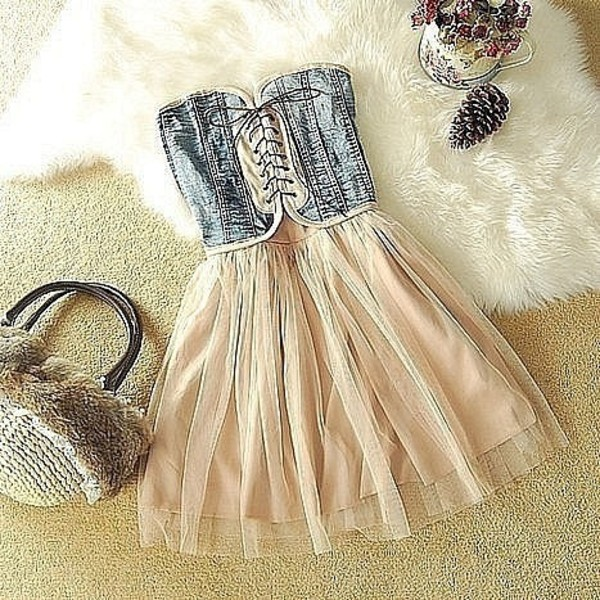 dress jeans pink tie up cute amazing beautiful hipster corset sheer tan blue white denim silk denim dress fabric corset dress bustier argenté