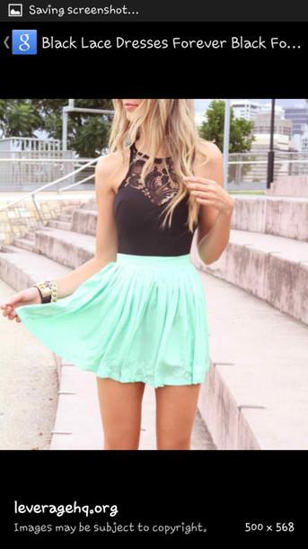 dress skirt shirt top mint green skater skirt mint skirt black crop top blouse black mint dress