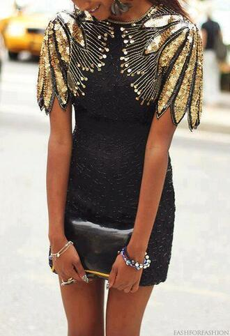 black dress sequins sequin dress mini dress gold gold sequins gold sequins dress party dress sexy dress evening dress dress black shoulders feathers wings vintage black and gold dress black and gold sequin dress
