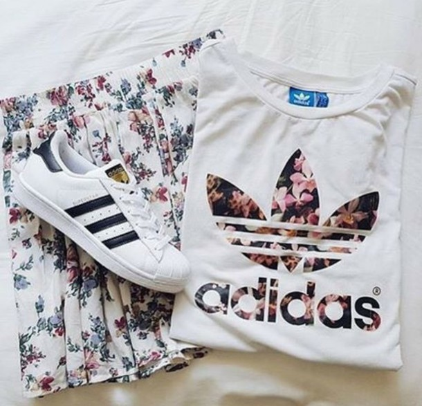 shirt t-shirt skirt adidas adidas shoes adidas shirt flowers pink flowers  spring outfits cute