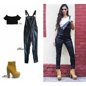 jumpsuit,chica clothing,faux leather dungarees,chica,overalls,dungarees,black overalls,high heels,booties,booties shoes,camel boots timberland style heels,style,lookbook,thessaloniki,crop tops,shoes