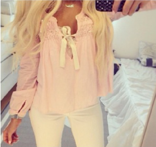 blouse shirt pink white bow girl blond loose