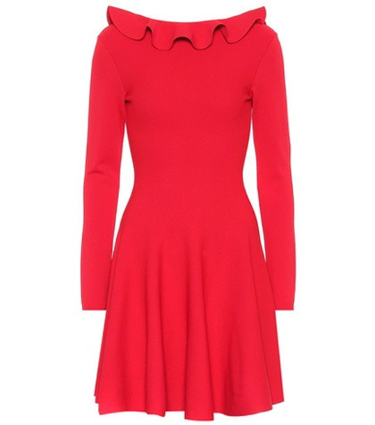 Valentino Long-sleeved knit dress in red