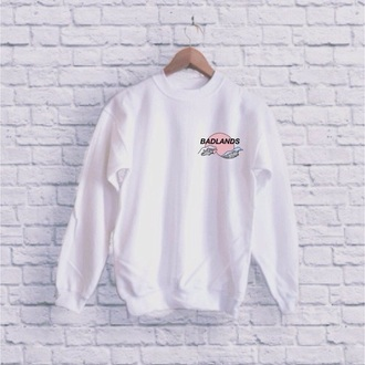 sweater white patch badlands tumblr oversized sweater weheartit