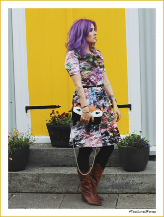 like a riot blogger jewels coat dress bag gloves shoes printed dress fall outfits