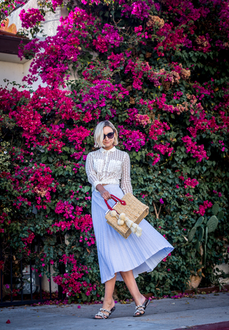 late afternoon blogger skirt shirt shoes bag sunglasses blue skirt basket bag midi skirt sandals pleated skirt