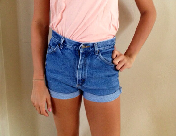High Waisted Denim Shorts Cuffed van Stanzino op Etsy
