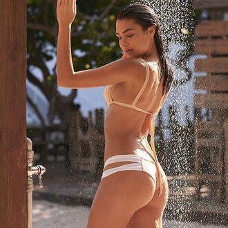 swimwear montce swim neutral bikini set double strap bikini bottom double lined bottom strappy montce bikini set pink bikini