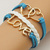[grxjy51201249]Vintage Dual Hearts LOVE Pendant Multilayer Woven Bracelet
