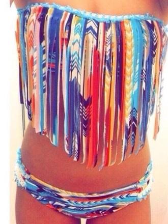 swimwear bikini boho fringes tassel colourful holidays