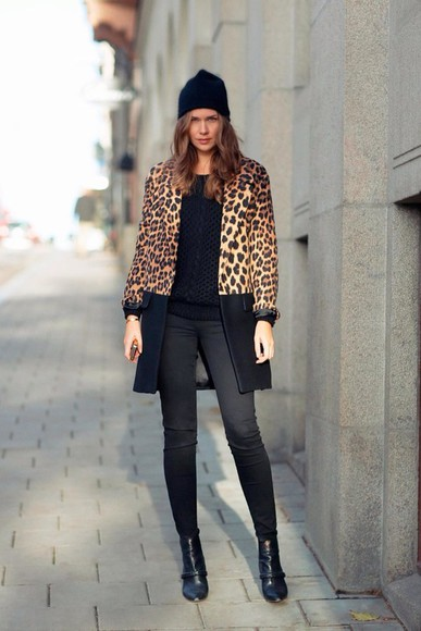 long leopard print print jacket model