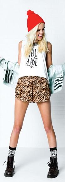 leopard print leopard print print print shorts short shorts punk