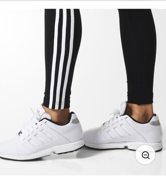 shoes adidas shoes black and white fashion white sneakers adidas white shoes adidas 3 stripes sports shoes sportswear girls sneakers sneakers running shoes fitness shoes sporty stripes stripes cool girl style
