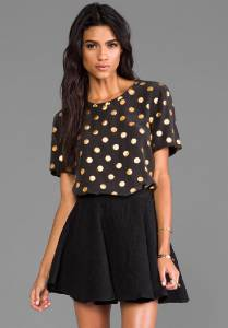 New equipment riley modern dot foil silk tee blouse top t