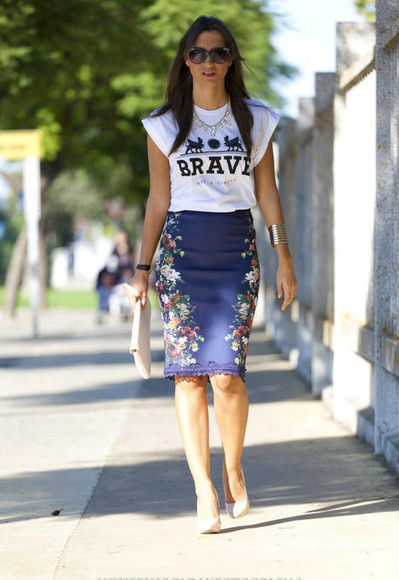 necklace cuff bracelets skirt top brave sunglasses clutch shoes high heels