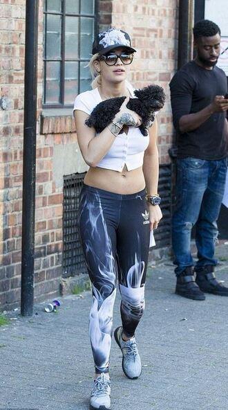 leggings rita ora sneakers crop tops hat sunglasses top shoes